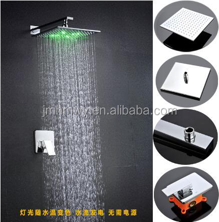 Guangdong Modern LED Lighting Chrome Brass Shower Faucet/Square Wall Mount Conceal Shower Mixer