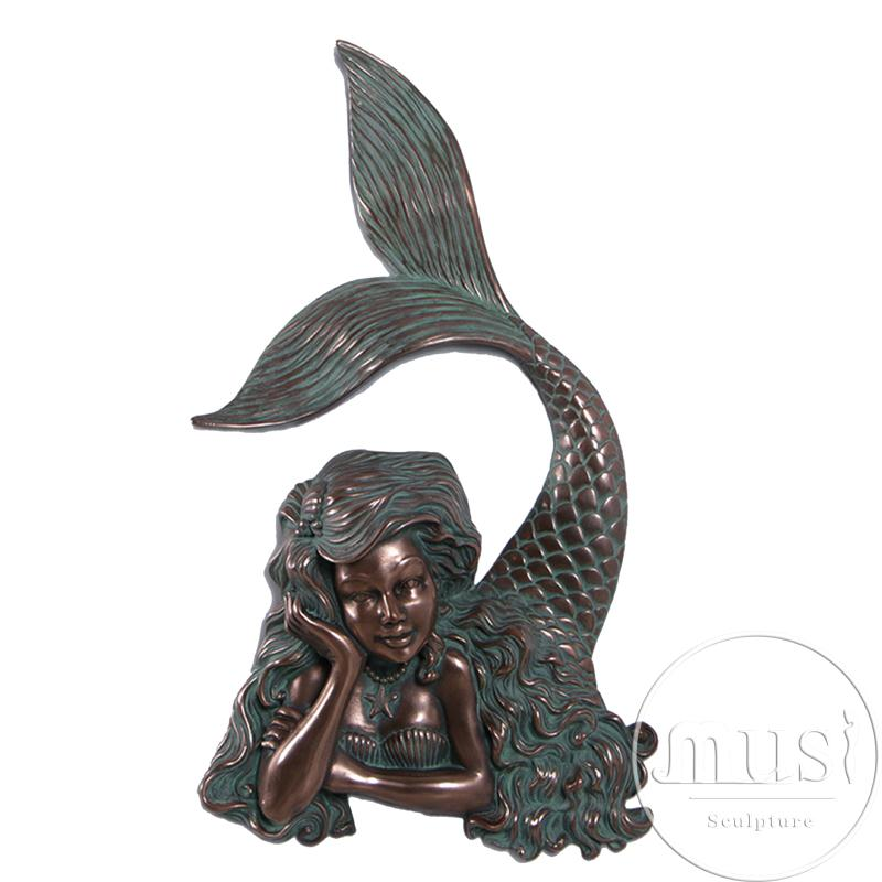 outdoor decoration life size bronze little mermaid