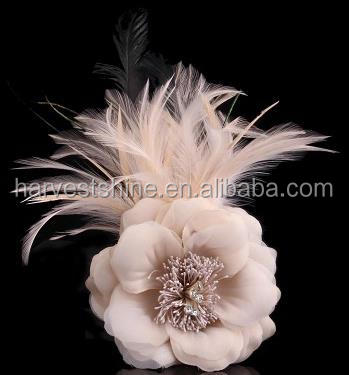Special Design Artificial Flower With Feather,Fabric Feather Flower For Hat Decoration