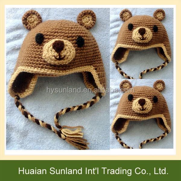 W-918 handmade crochet children baby teddy bear earflap knit beanie