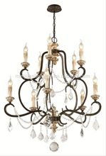 Brass bronze finish antique crystal candlebra lighting arabic glass chandelier dressed with handmade cut leaded crystal