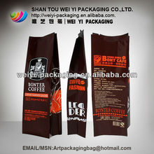 Coffee bag,aluminum foil material/plastic pouch with side gusset,aluminum foil coffee bag with valve