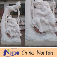 white outdoor hand carved stone children garden statues NTMS420S