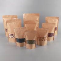 Custom Size Zipper Lock Brown Kraft Paper Bags With Heat Seal