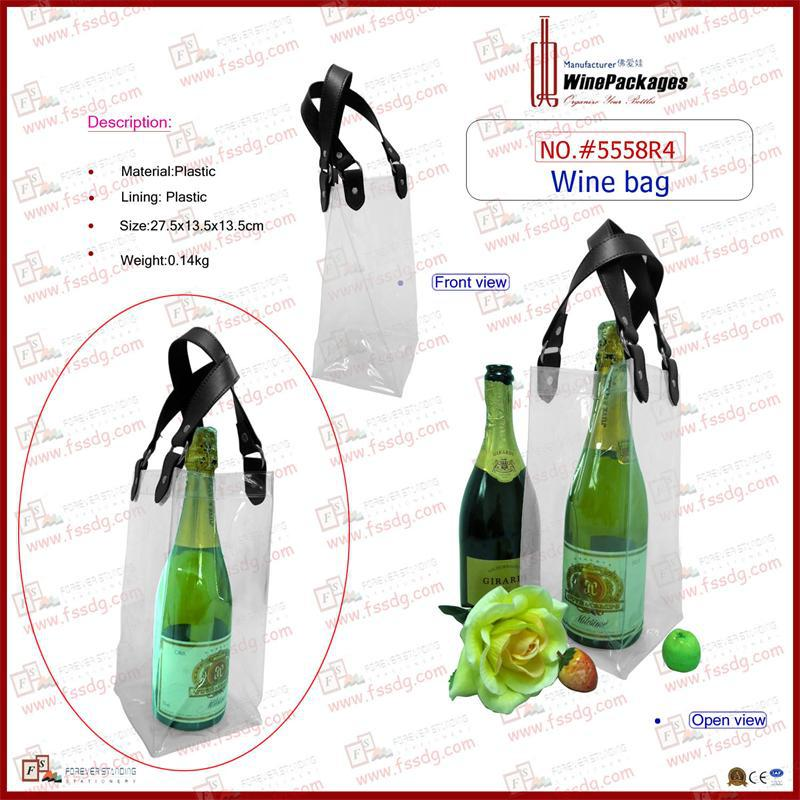 Portable wine bag with clear plastic material,wine bottle handbag,wine pouch