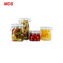 Food jar large glass pickle biscuits jars with clamp lid