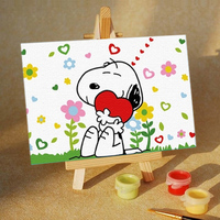 factory direct selling diy digital oil painting by numbers(10*10cm) on canvas for children playing