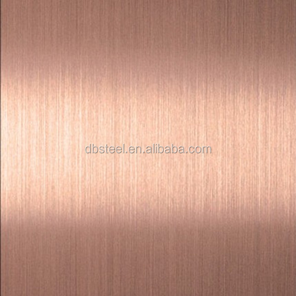 Factory supply high quality rose gold hairline stainless steel sheet 304
