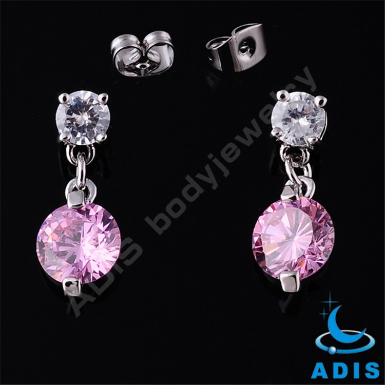 New 2016 last design new model dangle ear studs crystal stainless steel earrings for women