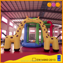 Inflatable kissing giraffe entrance arch for outdoor event