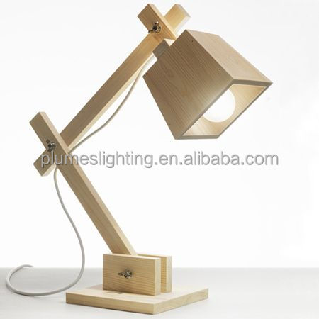 Up-to-date Artistic, Adjustable Touch table lamp with wooden lampshade,E27,with CE/RoHS for home/office, PLT8062