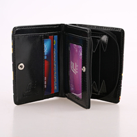 Mini Black PU leather foldable pocket leather coin purse for women