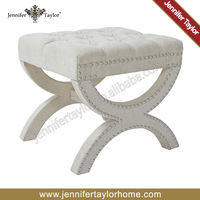 Traditional cross leg ottoman foot stool with tufed button