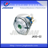 JH30-02 30mm flat stainless steel metal pushbutton switch on off Green LED dot