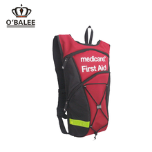 2017 new design eco-friendly waterproof empty red first aid backpack for the medication