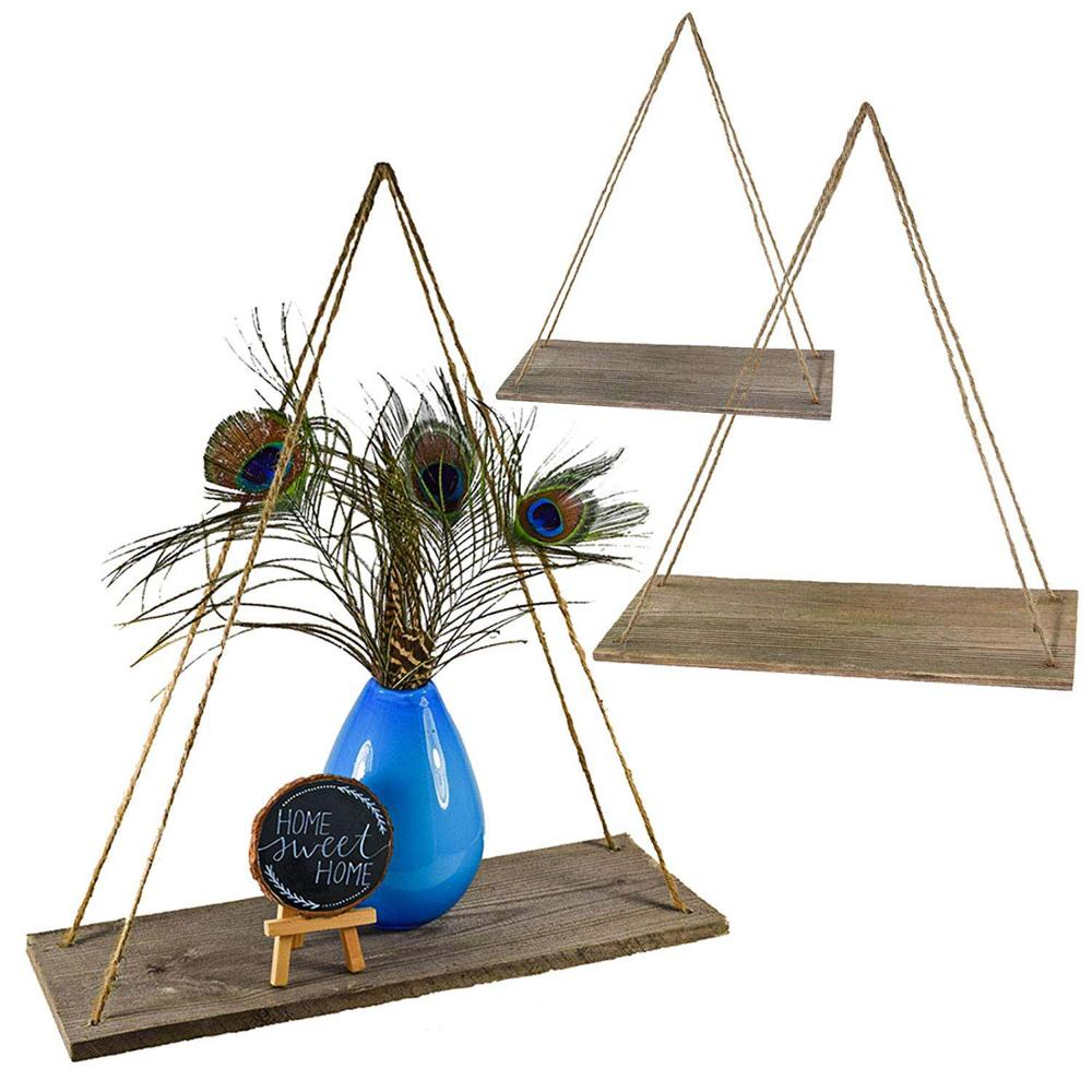 Wood Hanging Swing Rope Floating <strong>Shelves</strong>, Set of 3
