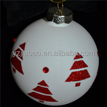 New design hanging christmas ornament and decoration, tree decoration, glass christmas printed ball with christmas tree