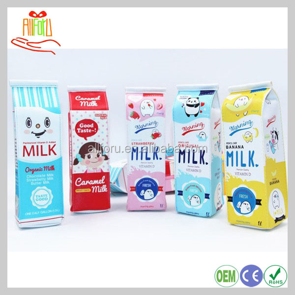 Milk carton PU storage stationery case, pencil bag with cartoon design, milk theme pencil cases