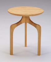 A fusion of art design ash wood round end table with three wooden legs for bottom