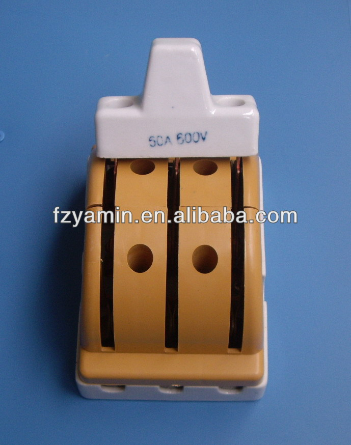 knife switch 2 pole double thrown 30A/600V 60A 100A 20A porcelain plastic