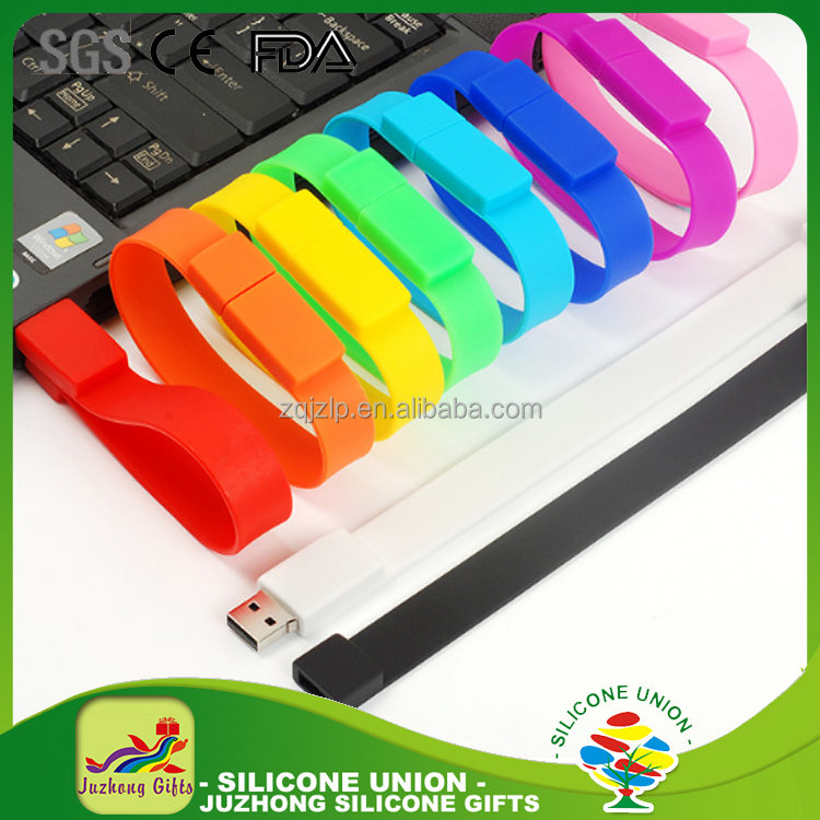 Top sale usb 2.0 silicon slap wristband bracelet pendrive