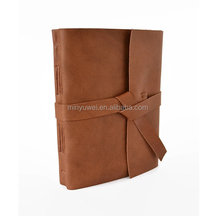 Popular golden brown cover notebooks leather wraps diary notebook handmade
