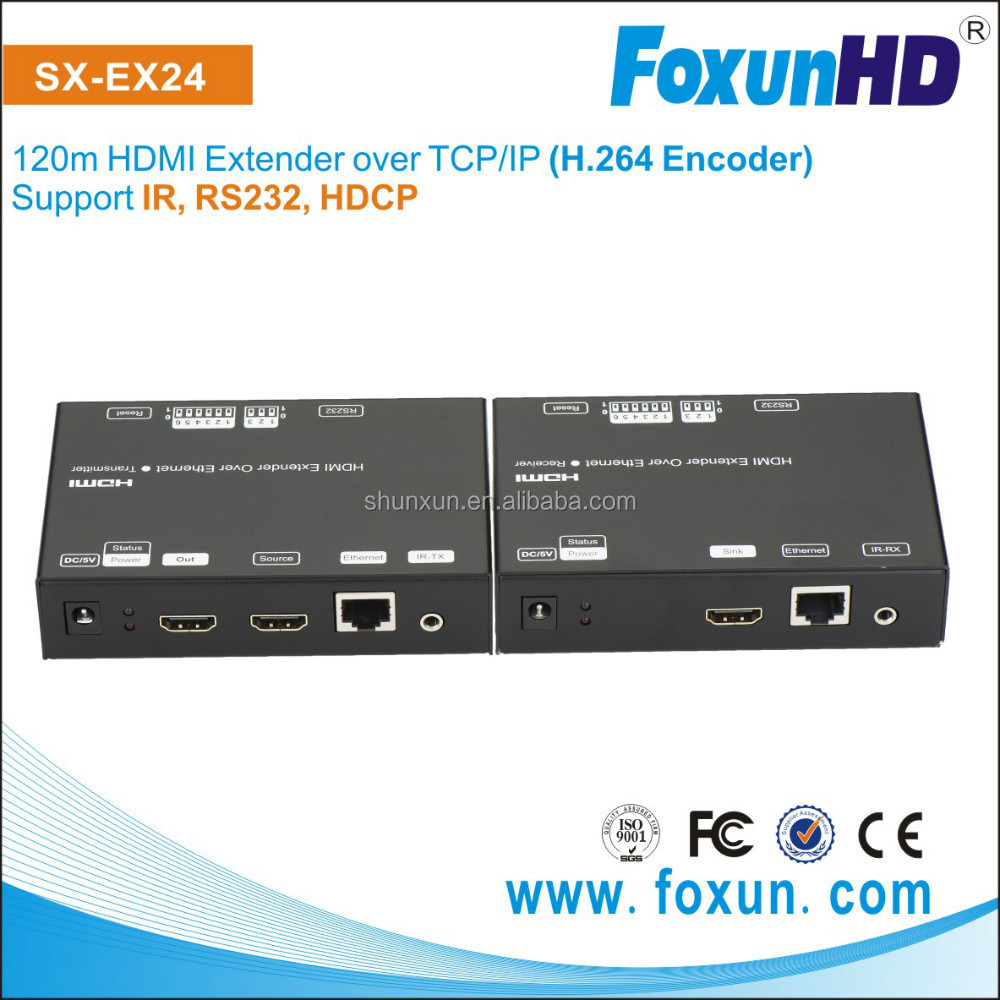 Foxun Wholesale 1080P Video Transmitter and Receiver,120m HDMI Extender over TCP/IP (H.264 Encoder)
