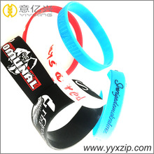 DIY custom debossed silicone wristband with color inks filled silicone bracelet