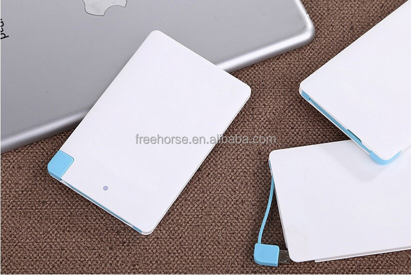 2016 hot seller credit card size power bank gift 2500 mah with customize LOGO