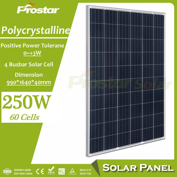 high quality poly 250 w solar panel 156*156mm cells manufacturers in china