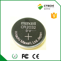 Li-ion button cell Maxell CR2032 3V battery with soldering pins, blister package