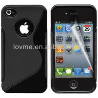 Black Gel Silicone TPU Case Cover for Apple iPhone 4/4S with Sline pattern