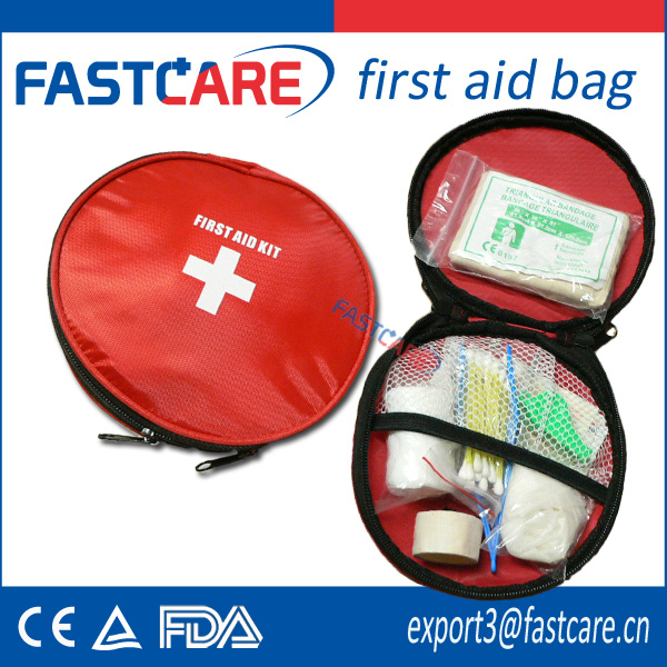 CE approved round travelling first aid kit bag
