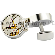 Fashionable cufflinks sliver jewelry watch movement cufflink