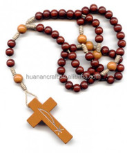 Christian Religious Europe iesus round red wood cross rosary