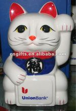 promotional item ceramic money box mammon cat coin bank for saving money