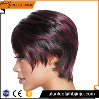 fashion spiky red hair color 12 inch short cut BOB full lace human hair wig for sexy women
