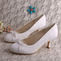 White Lace Wedding Shoes with Bows