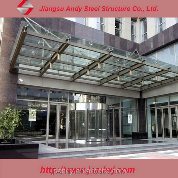 Tempered glass door canopy awnings for building