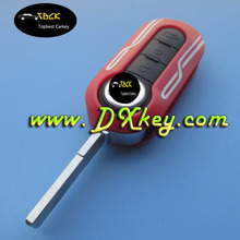 Red color 3 button shell key fiat 500 with SIP22 folding blade