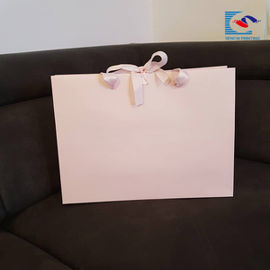 2018 Hot sale Custom Logo Elegant Pink Color Clothing Paper Bag