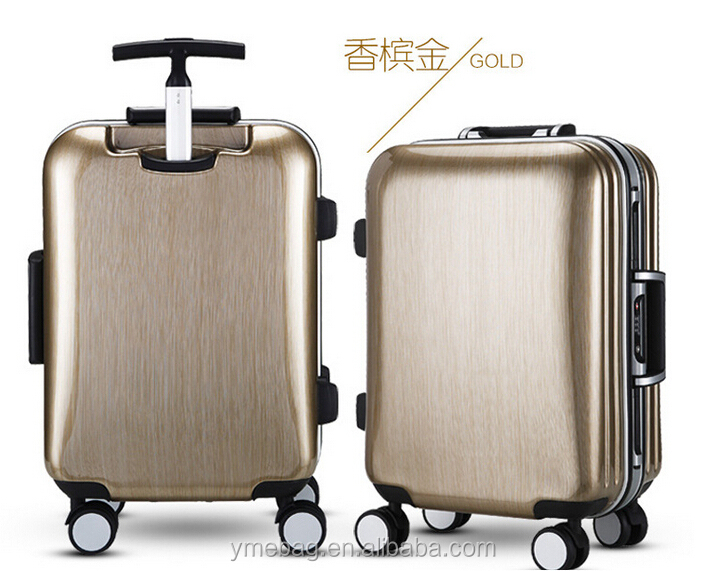 new design polyester linning ABS luggage trolley bag ,aluminum suitcase with 4wheels