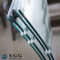 Curved tempered glass panels for window wall and balustrade