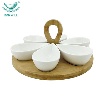 Six ceramic salad packaging bowls set with wooden tray