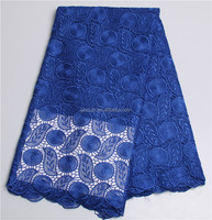 Royal Blue Guipure Fabric Cotton Fabric African Crochet Cord Lace One Piece Girls Party Dresses Neck Designs For Ladies Suit