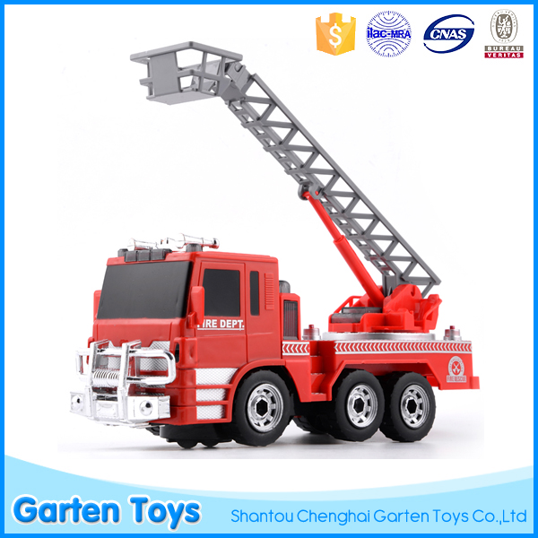 Customize battery operated musical ladder plastic fire truck toy