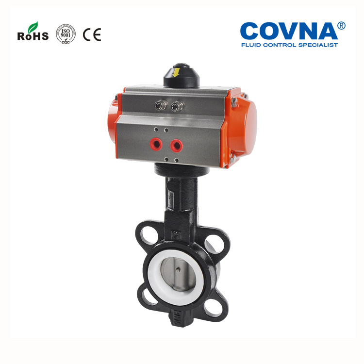 COVNA Pneumatically Operated PTFE Soft Seal Wafer Butterfly
