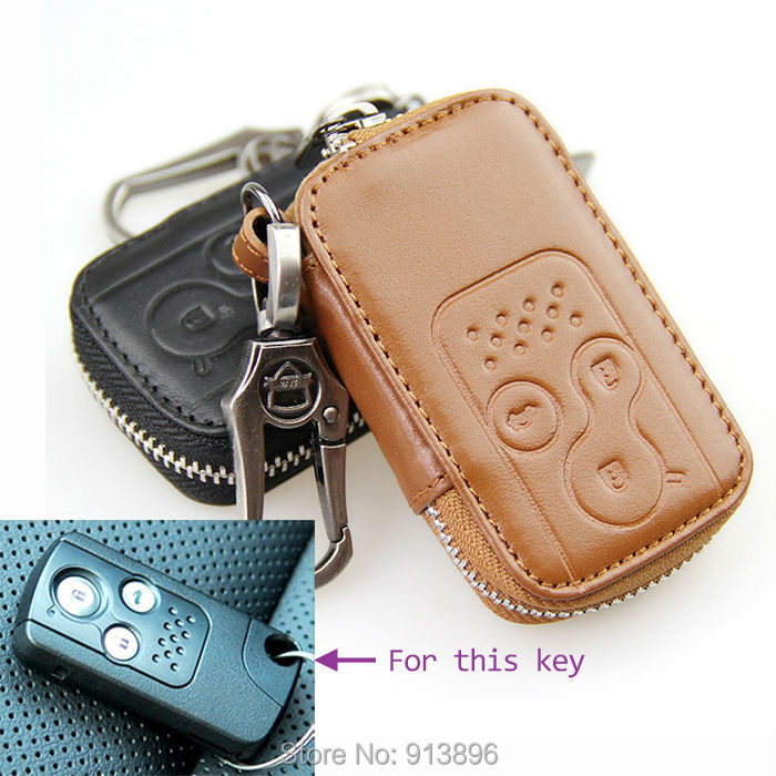 Leather key Fob remote case For Honda Spirior Civic Accord Odyssey car smart holder cover shell key rings keychain wallet/bag