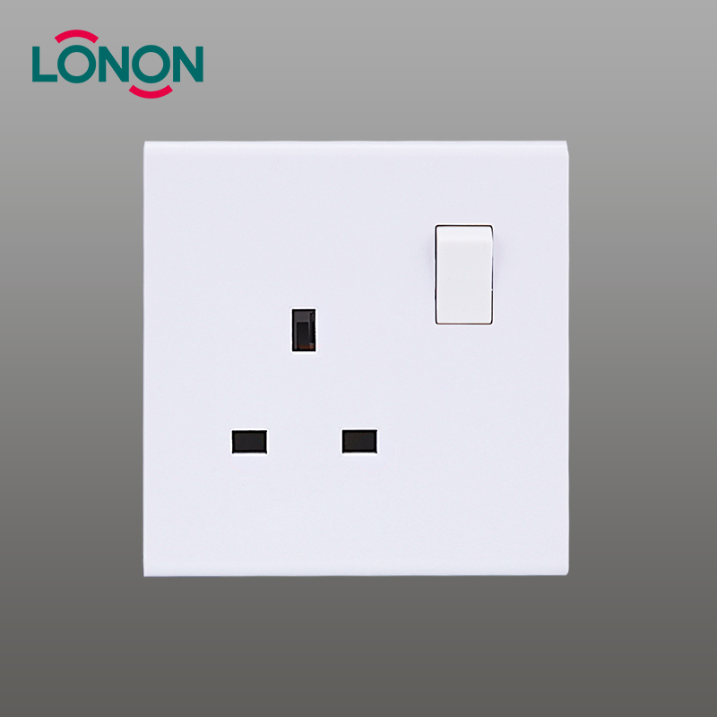 hot selling high quality 13a 1 gang 3 pin electrical wall switch socket