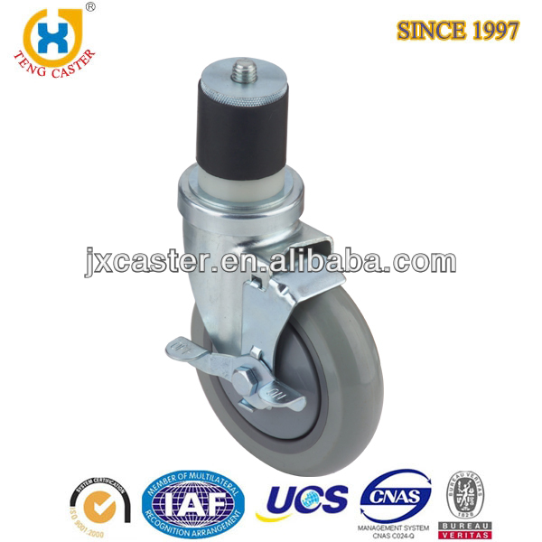 Expanding Adapter Stem 4 inch Swivel PU Caster